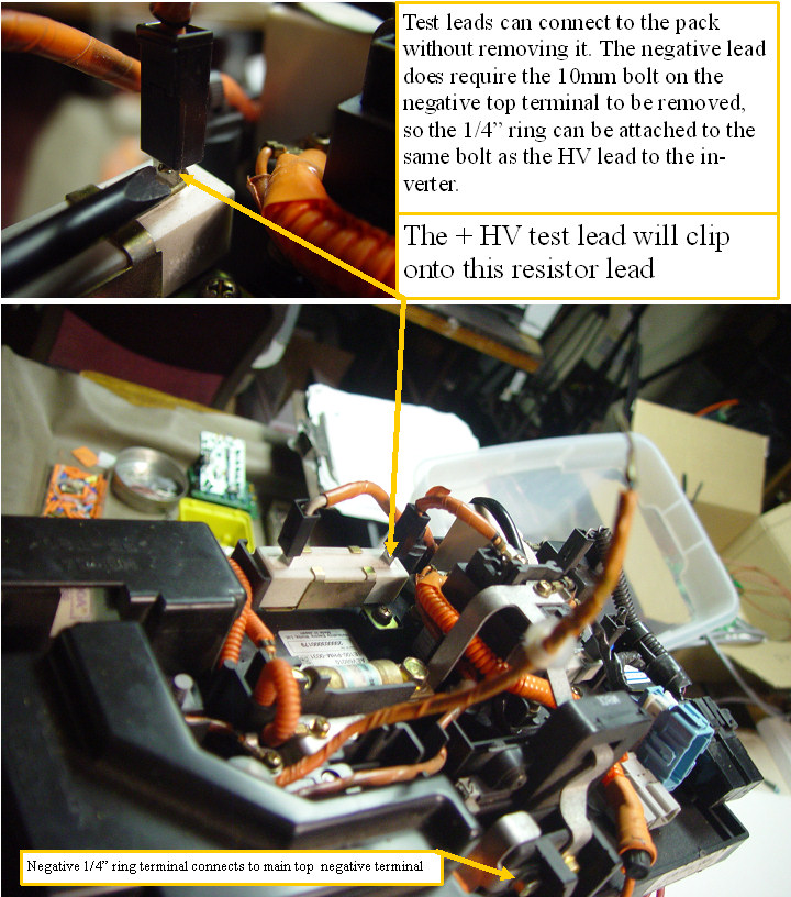 Attaching the test probes to the insight battery pack