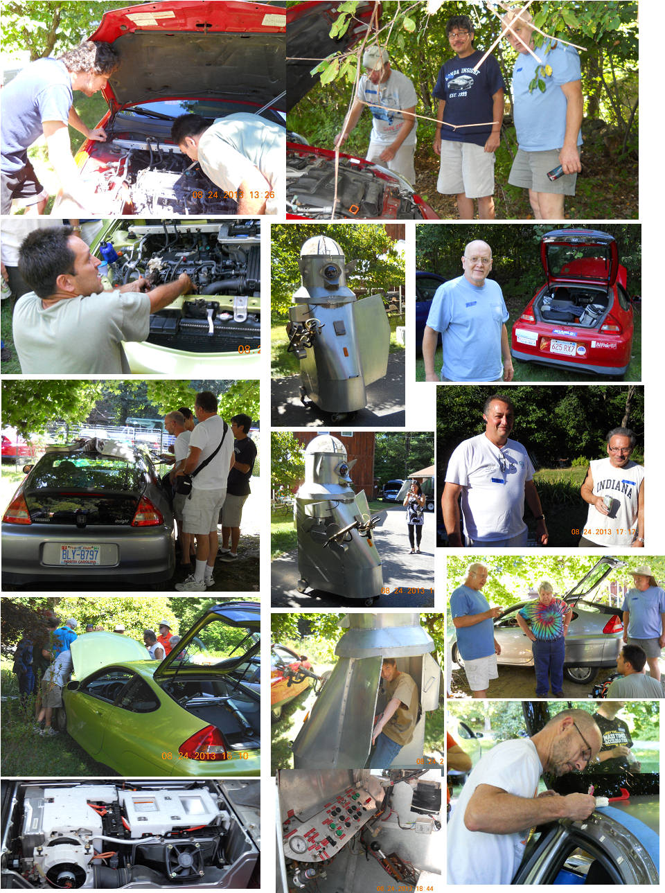 Dave Robie photos more hands on car work, Sparkie greets the people