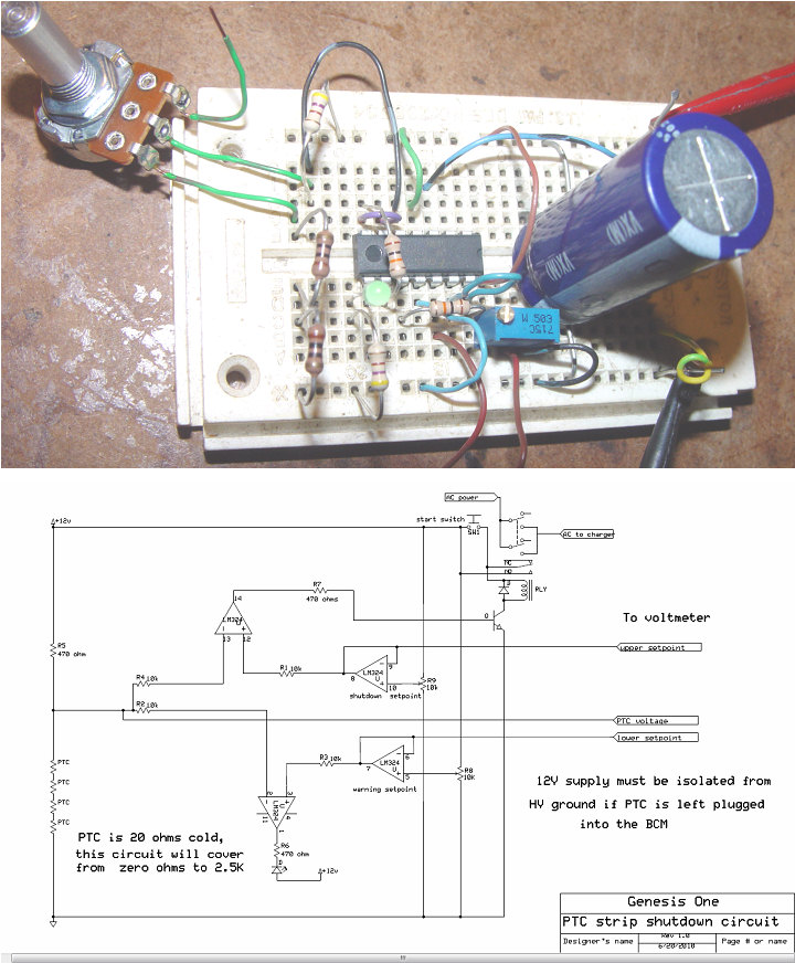 PTC strip monitor and charger shutdown circuit