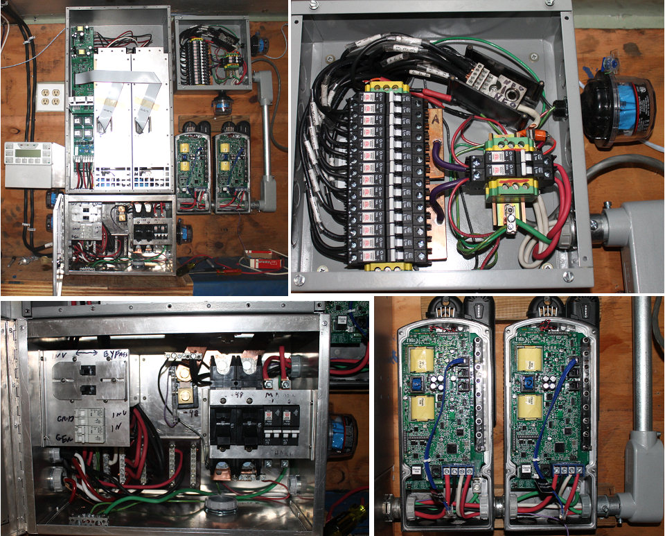the finished load center and charge controller connections