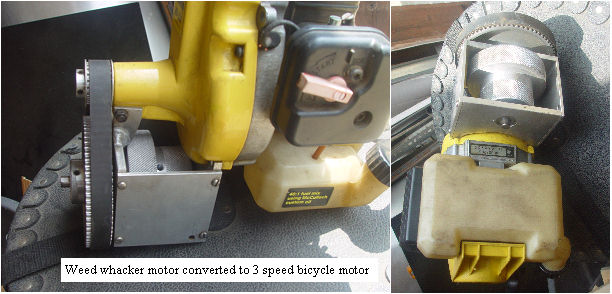 weed whacker motor converted to bicycle motor