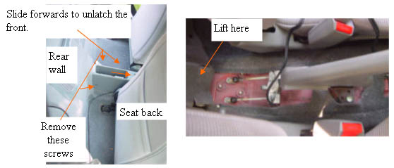 Remove the cover of the emergency brake.