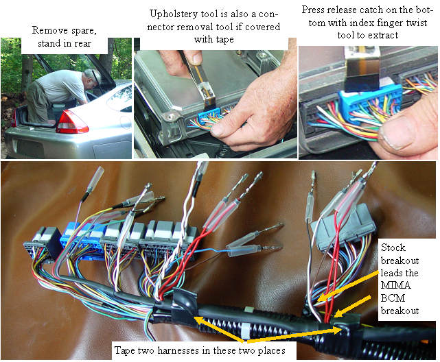 Pulling the connectors and securing the harness
