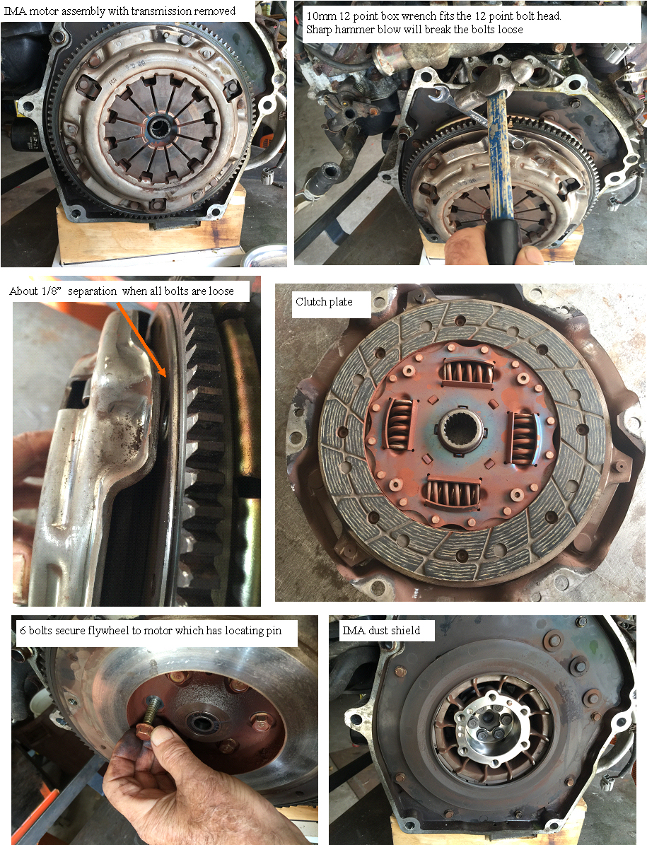 disassembly of clutch and flywheel from IMA motor